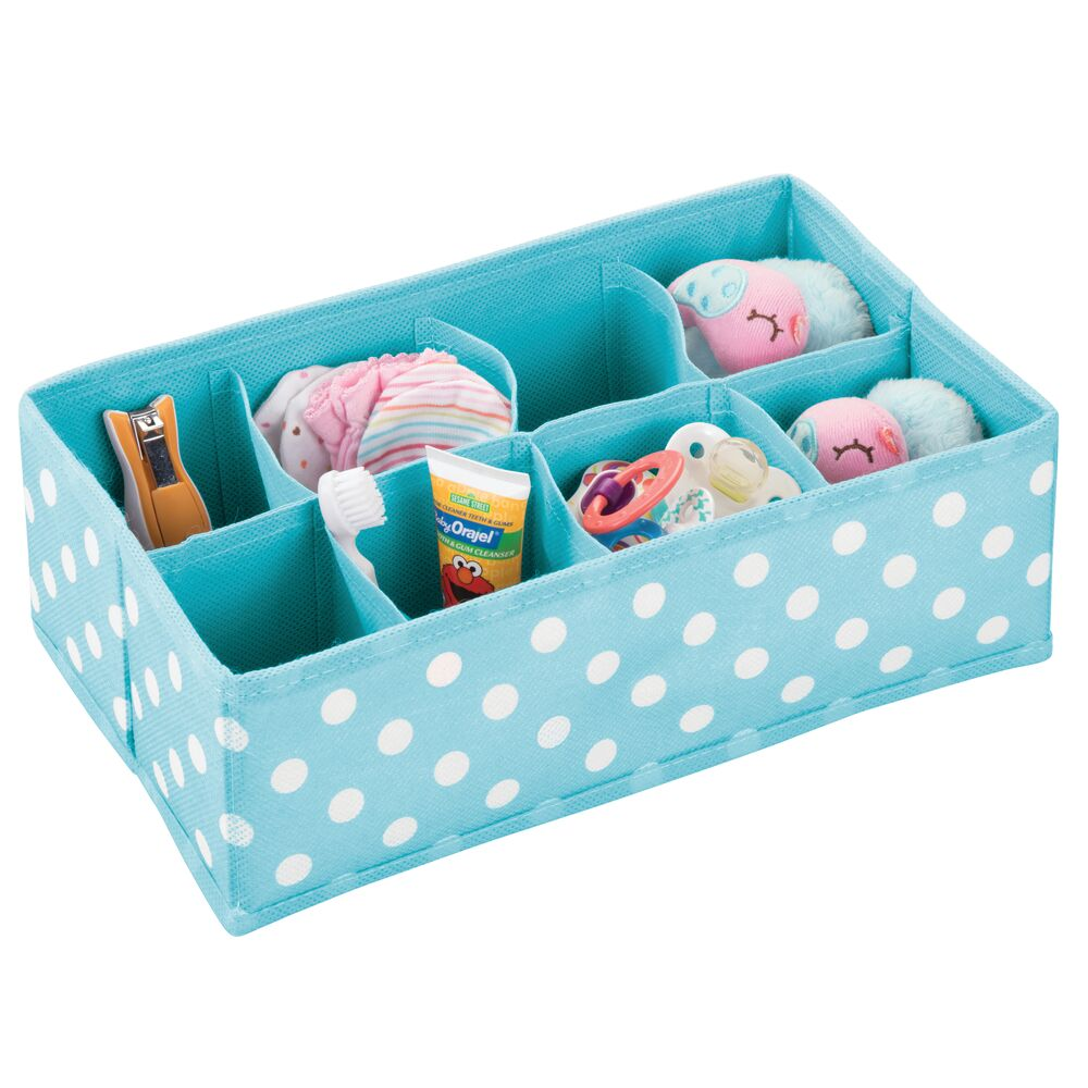 8 Section Kids Fabric Drawer Organizer in Turquoise/White, by mDesign