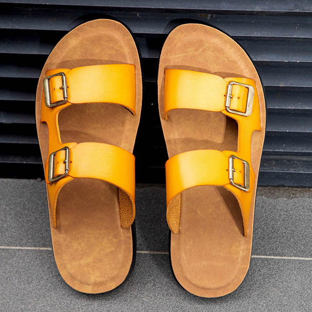 Men Double Buckle Strap Comfy Soft Sole Casual Outdoor Water Slippers
