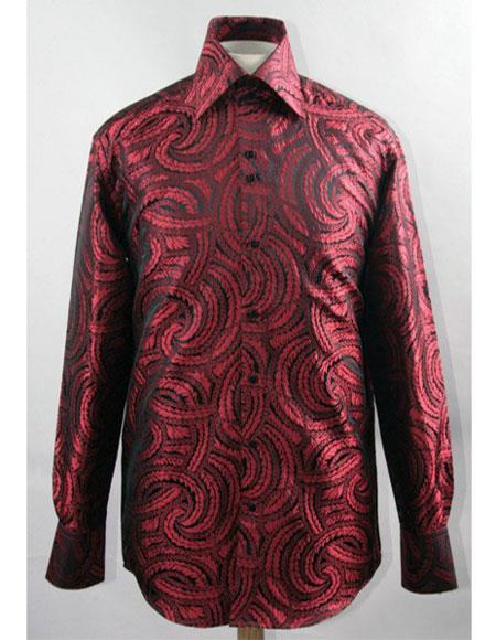 Men's Black/Red High Collar ~ Shiny ~ Silky Fabric Braid Shirts