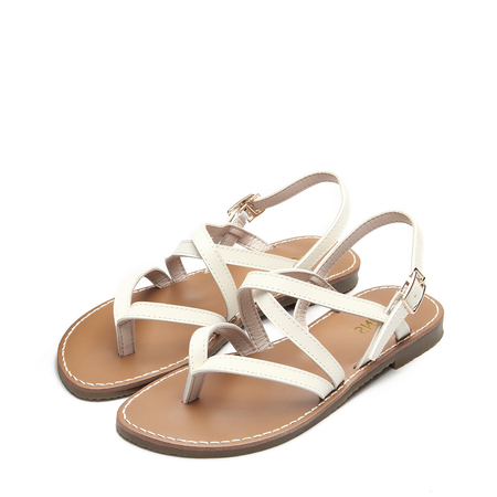Yoins White Leather Look Crossing Strap Over Toe Post Flat Sandals