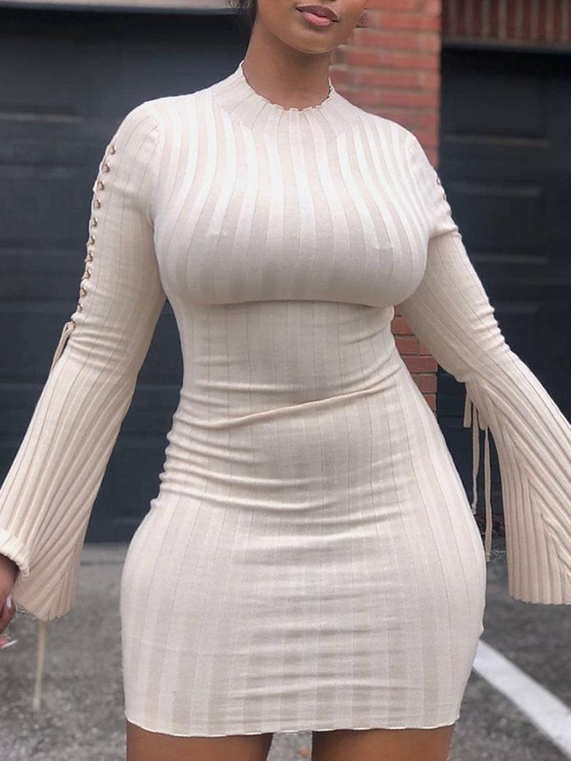Ericdress Long Sleeve Lace-Up Above Knee Mid Waist Plain Dress