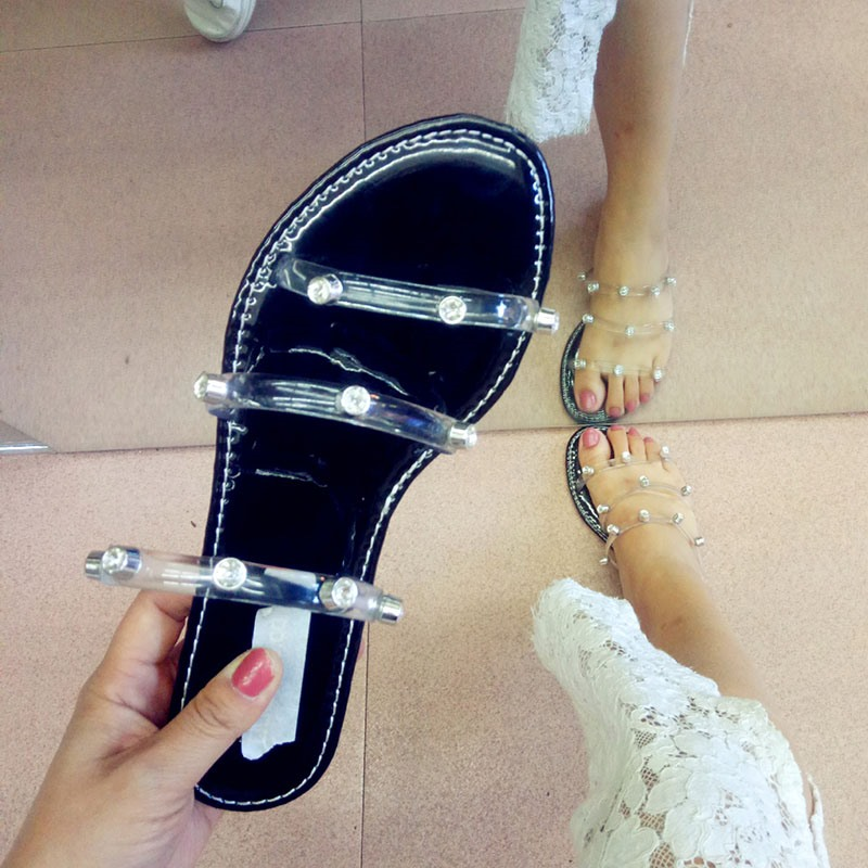 Ericdress Beads Flat With Toe Ring Compound Slippers