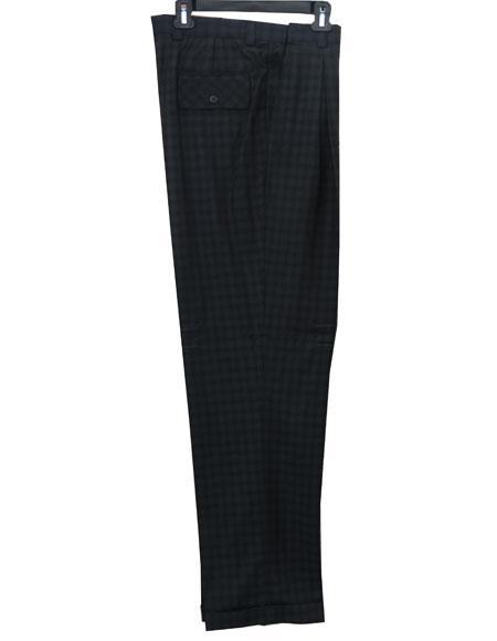 Mens Real Window Pane ~ Plaid Wide Leg Pants Taupe