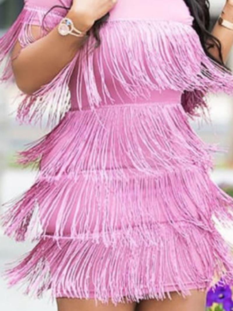 Ericdress Short Sleeve Above Knee Tassel Sweet Pullover Dress