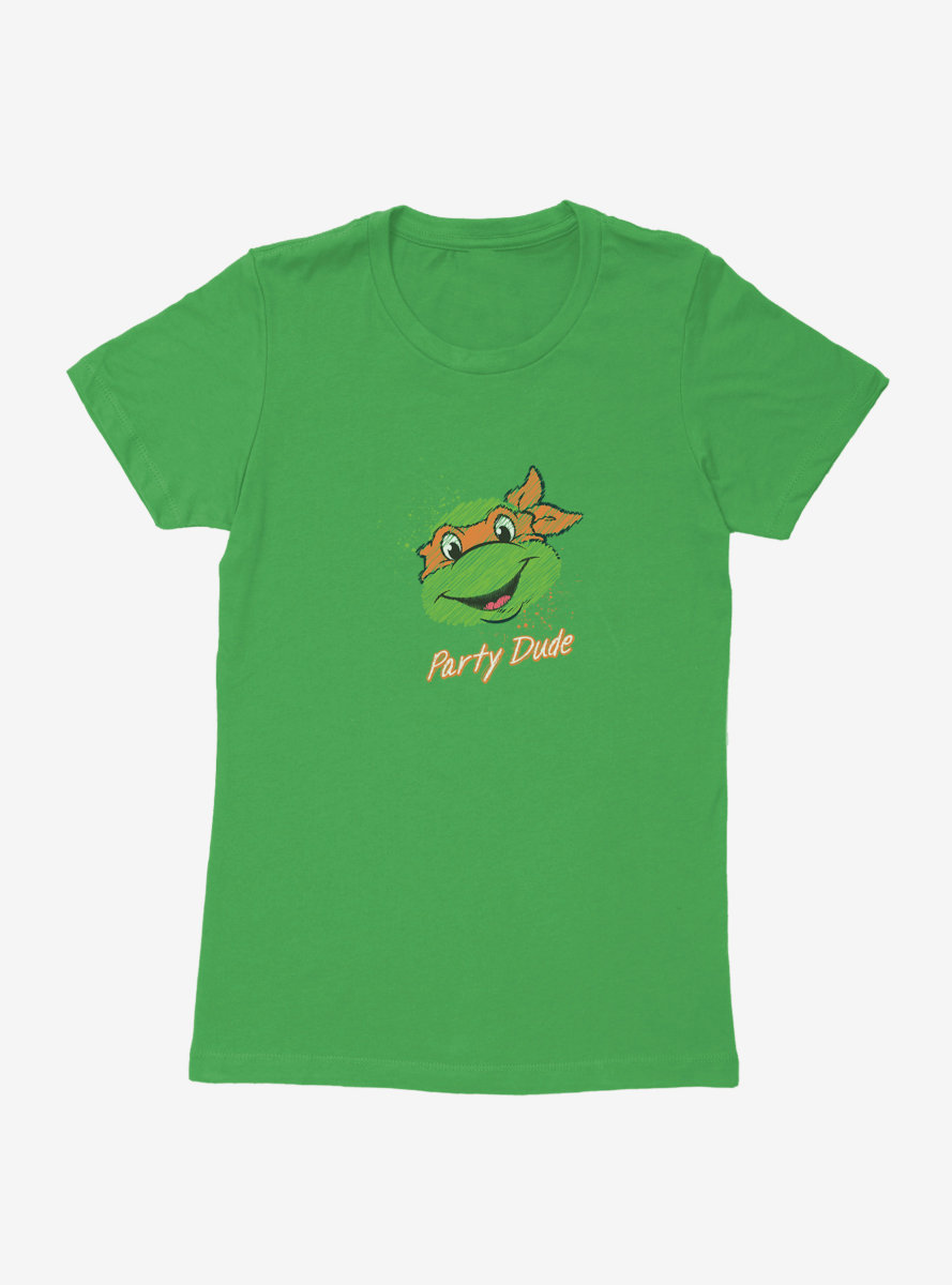 Teenage Mutant Ninja Turtles Chalk Lines Michelangelo Party Dude Womens T-Shirt