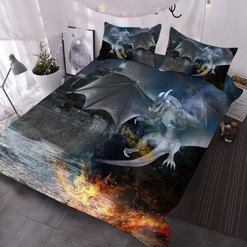 Flying Dragon 3D Warm Animal Comforter 3-Piece Soft Comforter Sets with 2 Pillowcases