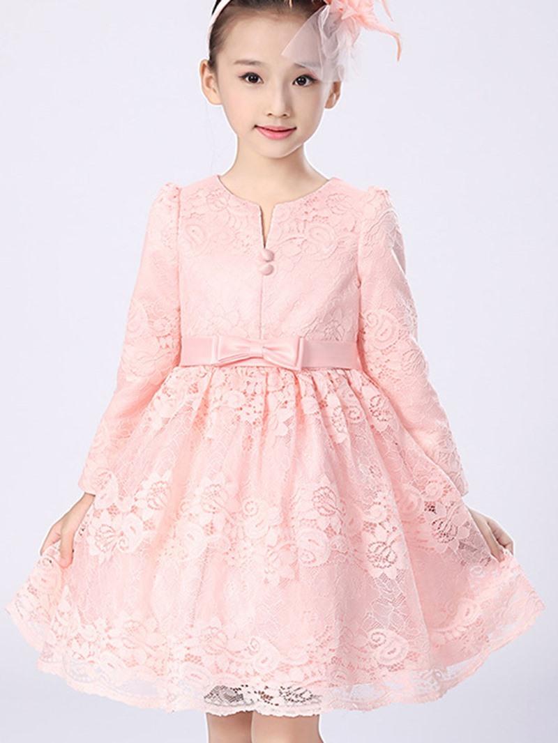 Ericdress Floral Lace Bow Princess Girls Dress
