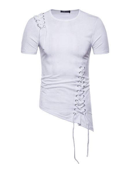 Milanoo Men Casual T Shirt Irregular Design Braided Cotton Top Slim Fit Short Sleeve T Shirt