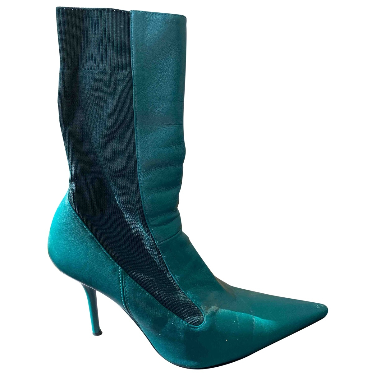Uterque \N Green Leather Ankle boots for Women 39 EU