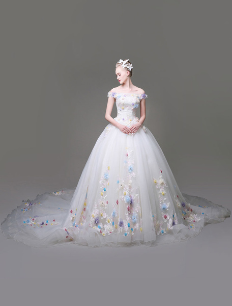 Milanoo Flowers Quinceanera Dresses White Luxury Off The Shoulder Rhinestones Beading Short Sleeve Women's Pageant Dresses With Train