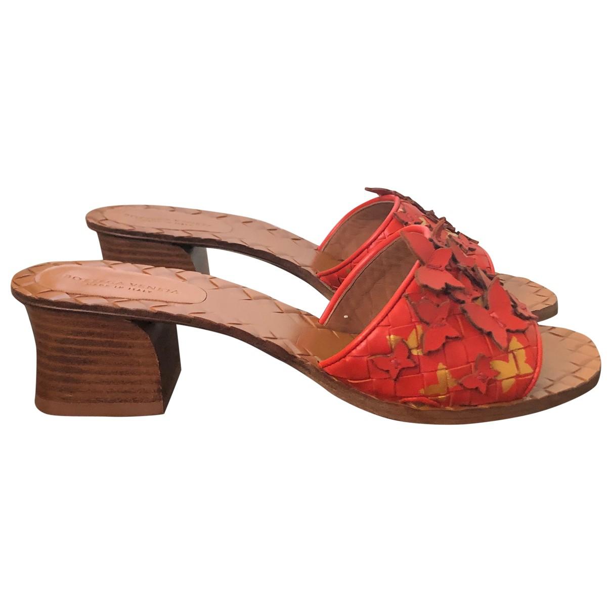 Bottega Veneta \N Orange Leather Sandals for Women 37 EU