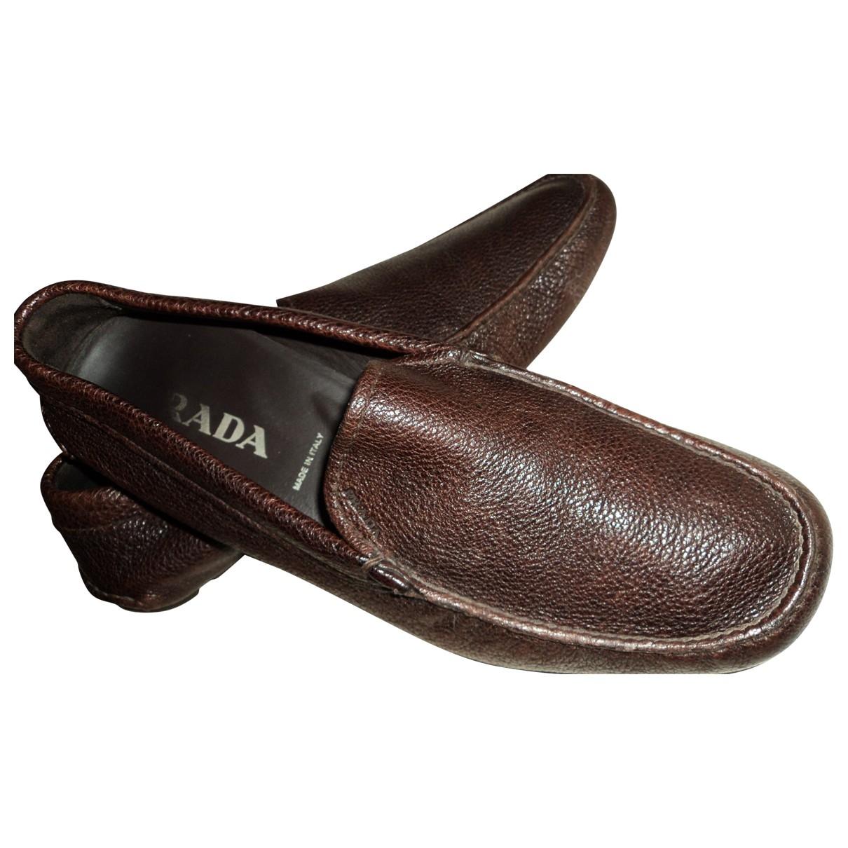 Prada \N Brown Leather Flats for Men 7 UK