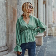 Notched Neck Covered Button Peplum Blouse