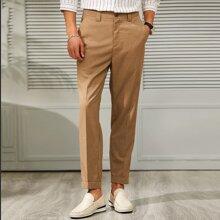 Men Pocket Side Tailored Pants
