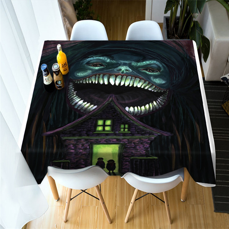 3D Weird Smile Monster Halloween Printing Polyester Table Cover Cloth