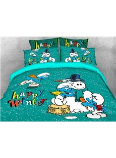 The Smurfs Building Snowman Printed 4-Piece Bedding Sets/Duvet Covers