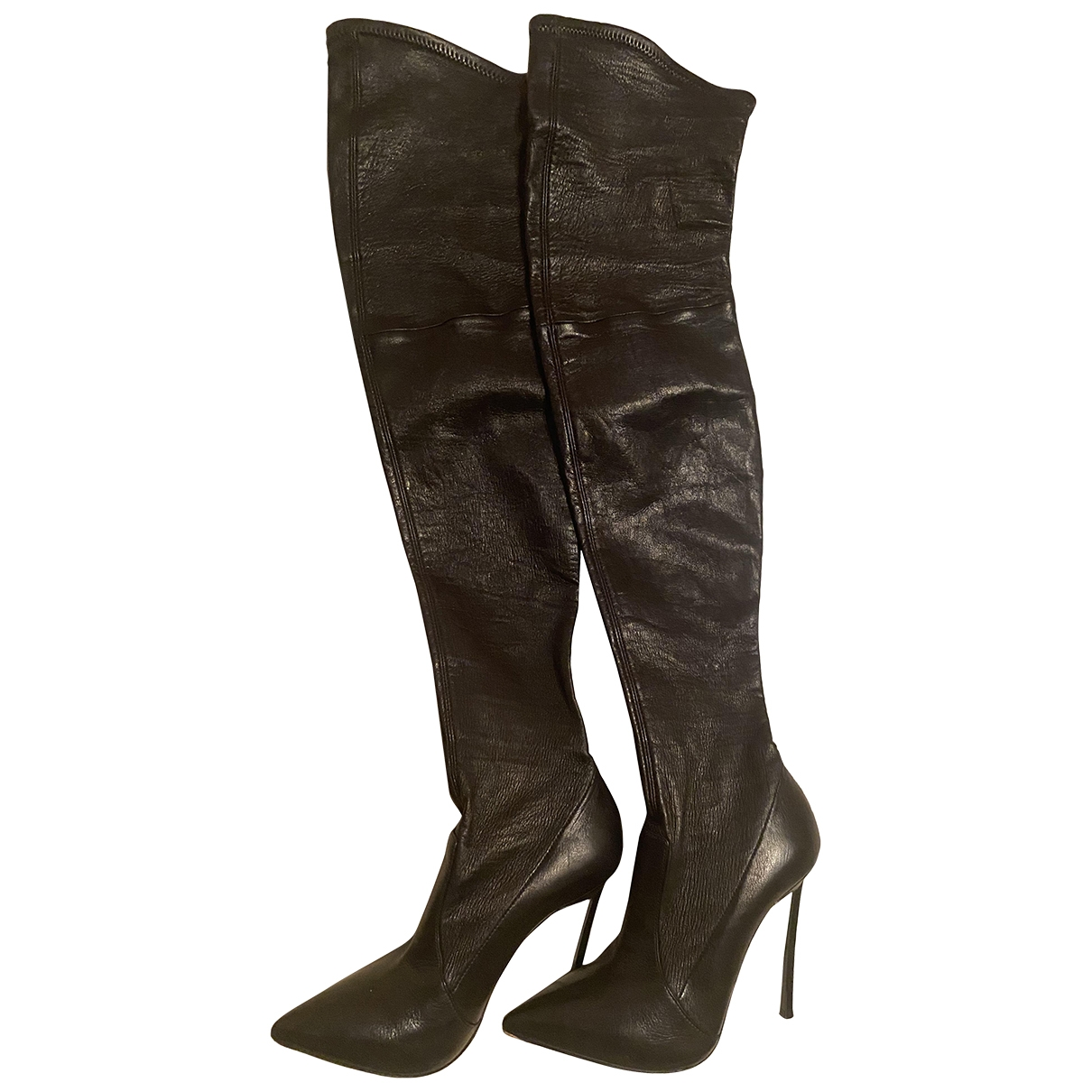 Casadei \N Black Leather Boots for Women 38 EU
