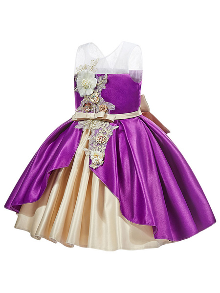 Milanoo Flower Girl Dresses Jewel Neck Polyester Sleeveless Knee Length Ball Gown Bows Kids Party Dresses