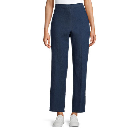 Alfred Dunner-Petite Womens Straight Flat Front Pant, 12 Petite Short , Blue