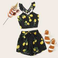 Plus Fruit Print Crop Cami Top With Belted Shorts