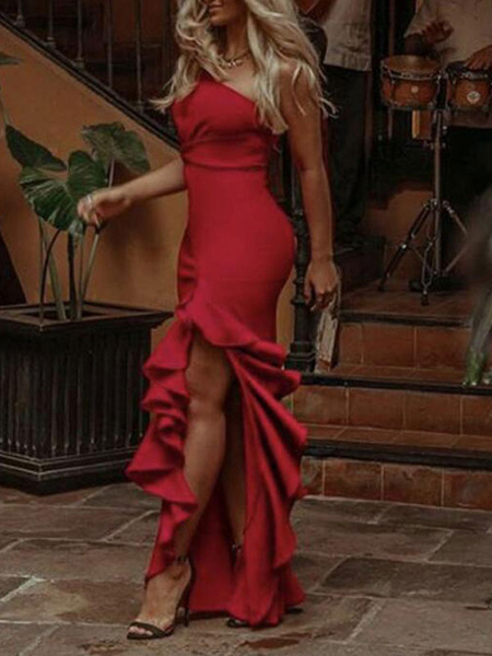 Milanoo Sexy Maxi Dress One Shoulder Split Ruffles Chiffon Women Party Dress
