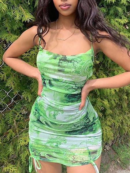 Milanoo Green Bodycon Dresses Dragon Printed Sexy Sleeveless Slip Dress