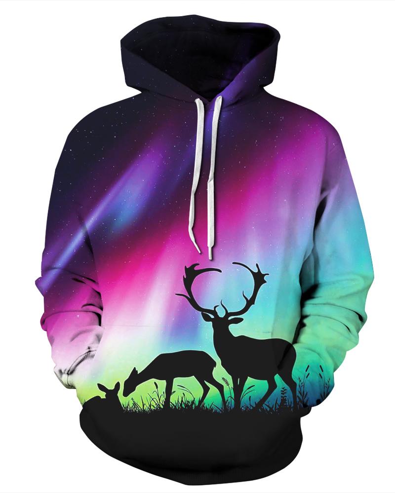 Long Sleeve Aurora Deer Pattern 3D Painted Hoodie