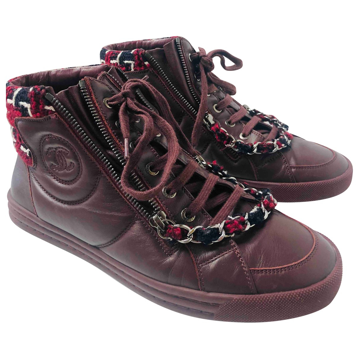 Chanel \N Burgundy Leather Trainers for Women 39 EU