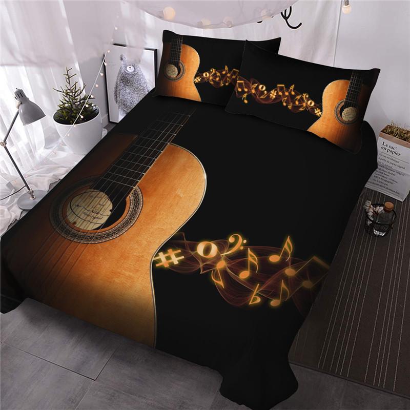 Guitar Music Notes Comforter Set Machine Wash Reactive Printing Three-Piece Set Polyester Bedding Sets All-Season Ultra-soft Microfiber