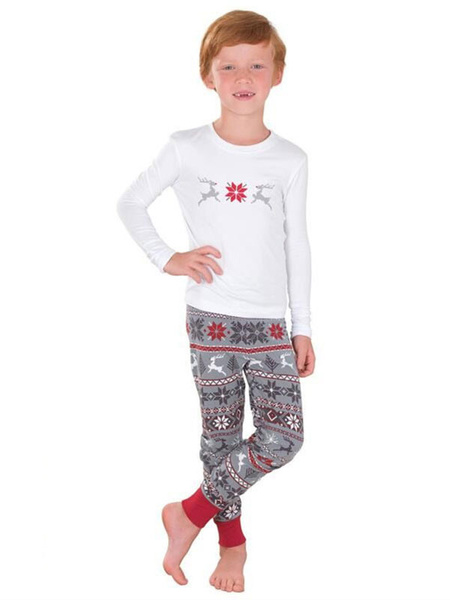 Milanoo Christmas Family Pajamas Matching Kids White Printed Top And Pants 2 Piece Set For Children