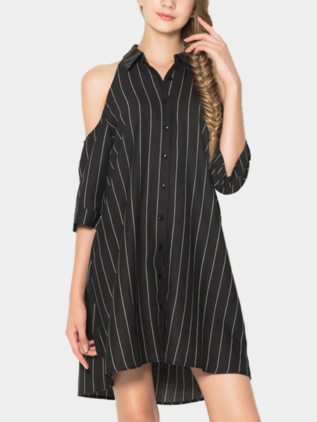 Yoins Loose Cold Shoulder Stripes Mini Dress with Buttons