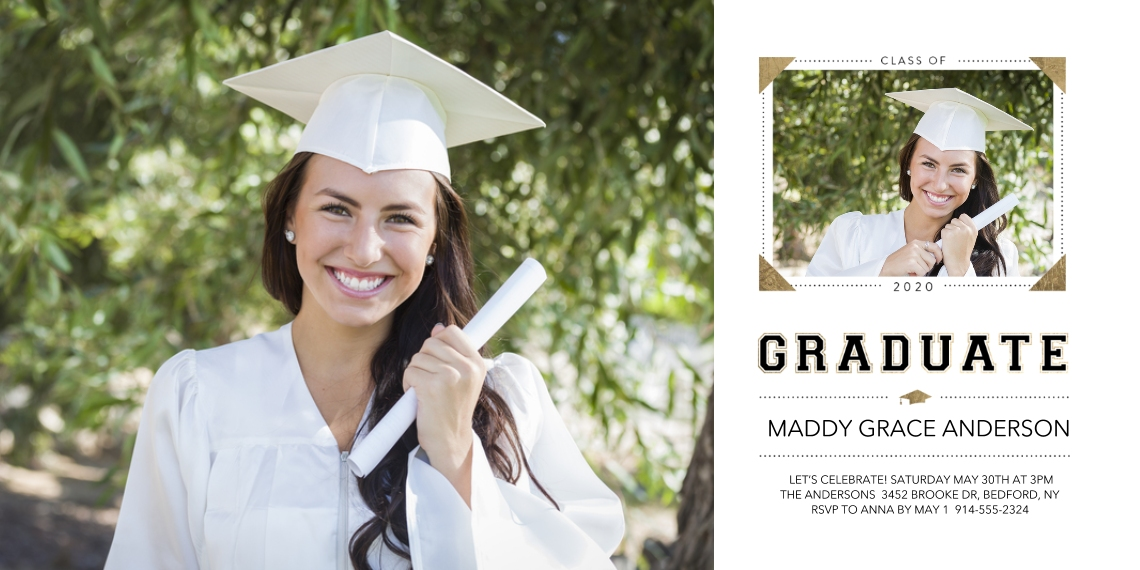 Graduation Announcements Flat Matte Photo Paper Cards with Envelopes, 4x8, Card & Stationery -Class of 2020 Memories Cap by Tumbalina