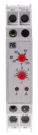RS PRO SPNO Timer Relay - 3 → 120 s, 2 Contacts, Star Delta, DIN Rail