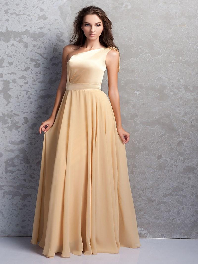 Attractive Pleats A-Line One-Shoulder Bridesmaid Dress