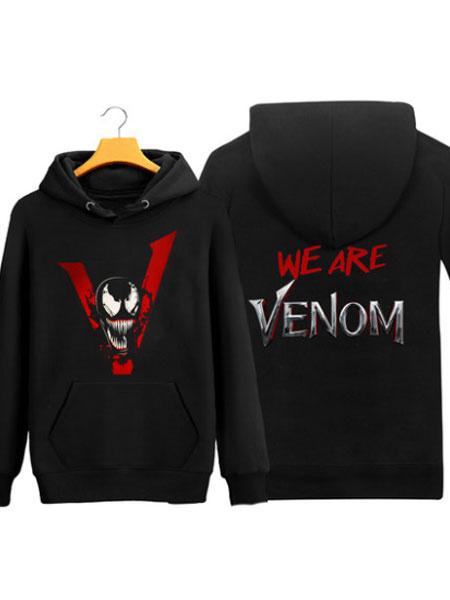 Milanoo Venom Hoodie 2020 Movie Marvel Comics WE ARE VENOM Cosplay Black Hoodie Halloween