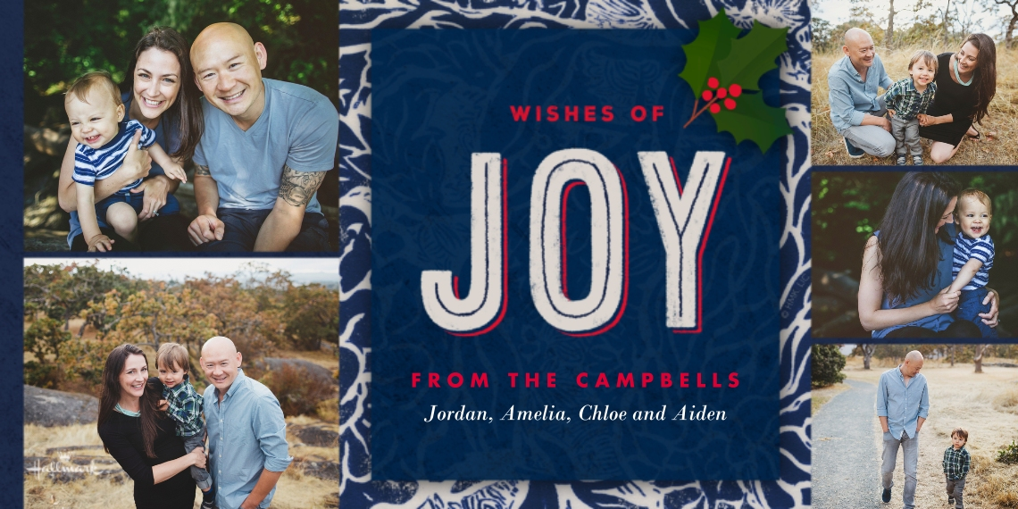 Holiday Photo Cards 4x8 Flat Card Set, 85lb, Card & Stationery -Navy and Red Joy