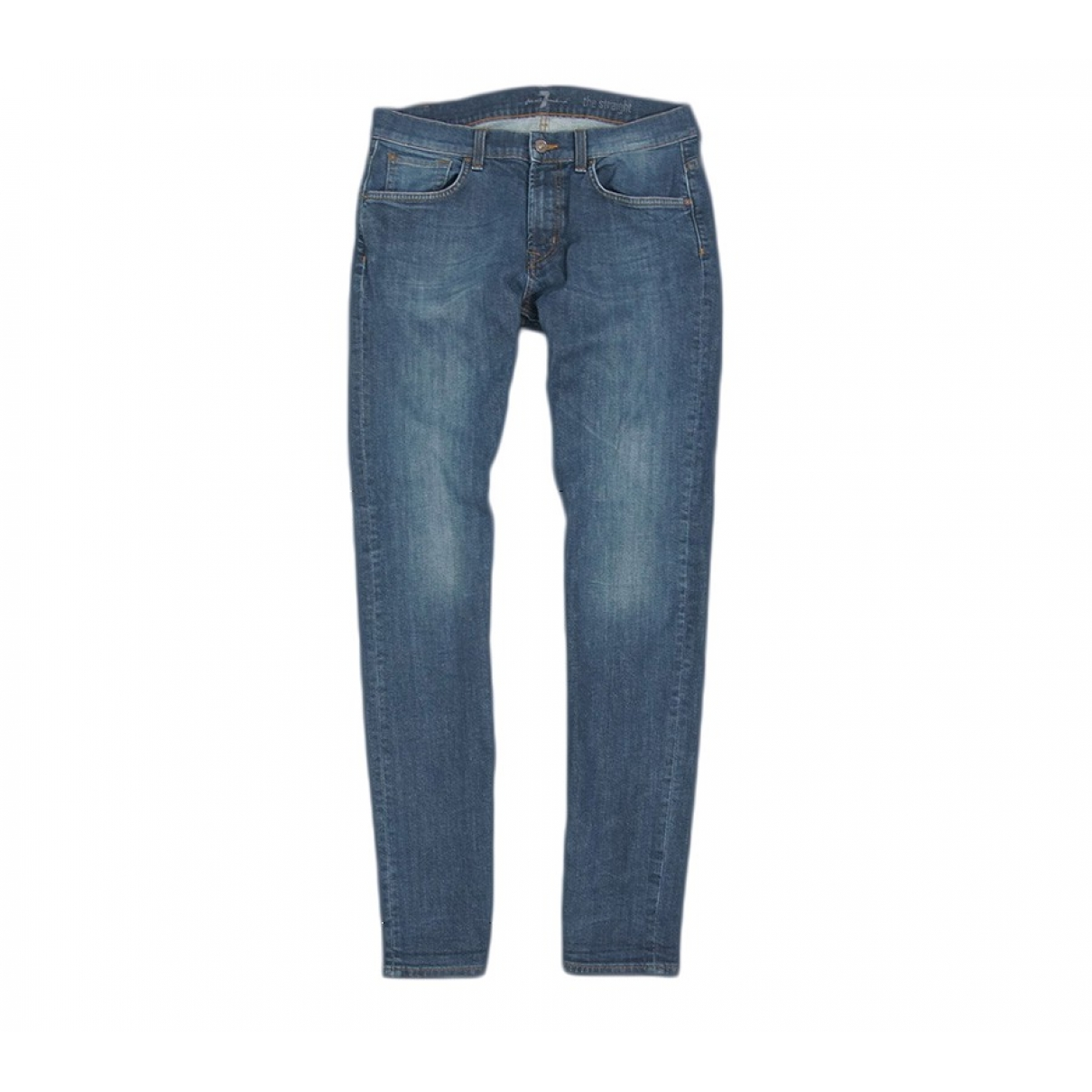 7 For All Mankind \N Blue Cotton - elasthane Jeans for Men 32 US