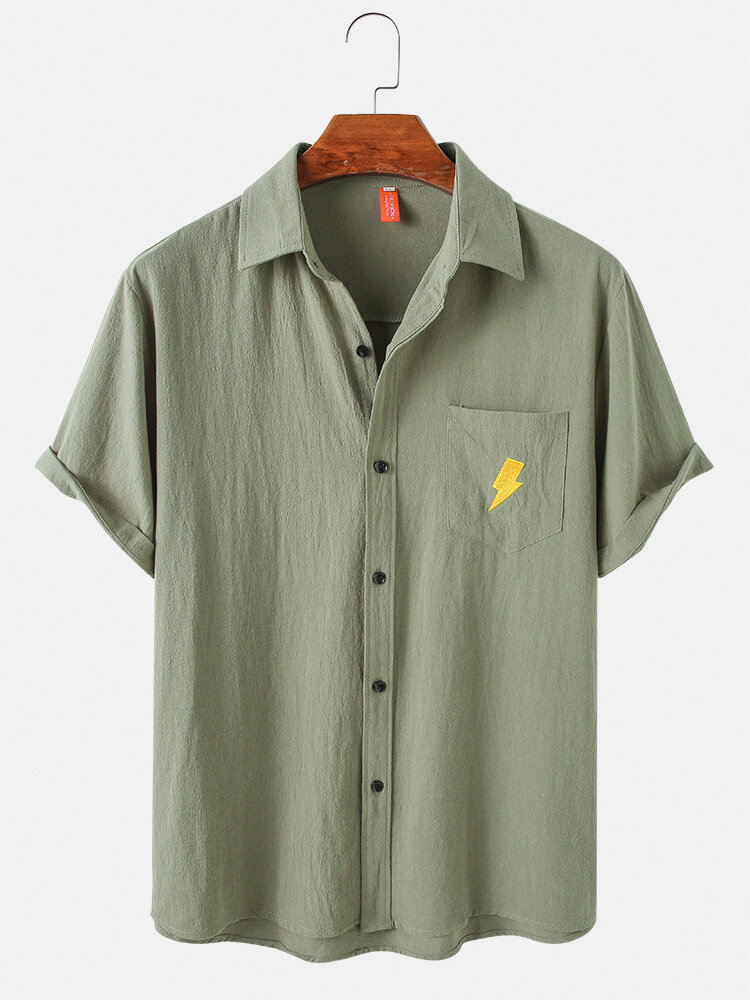Mens Weather Embroidered Cotton Casual Short Sleeve Shirts With Pocket