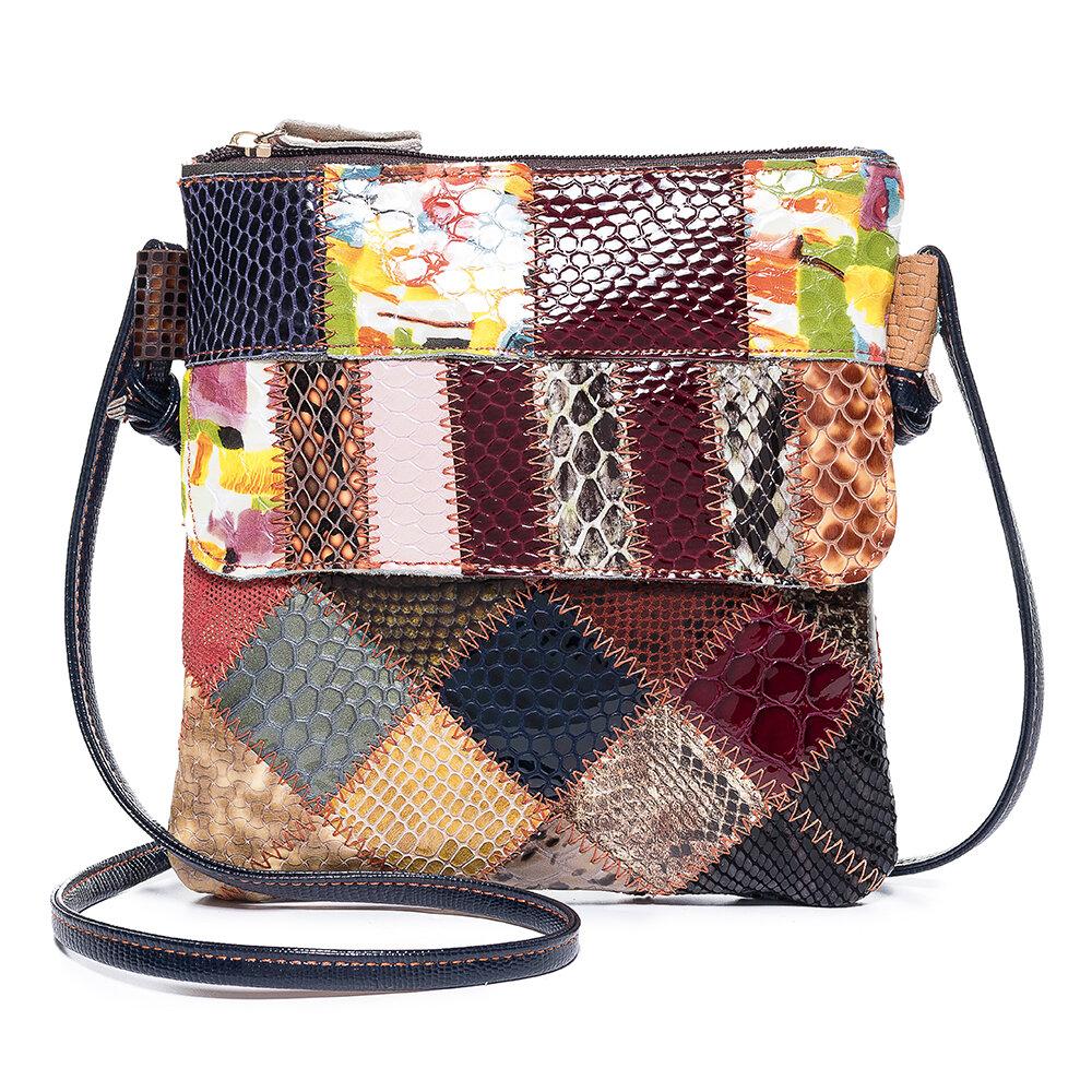 Women Patchwork Vintage Genuine Leather Crossbody Bag Casual Shoulder Bag