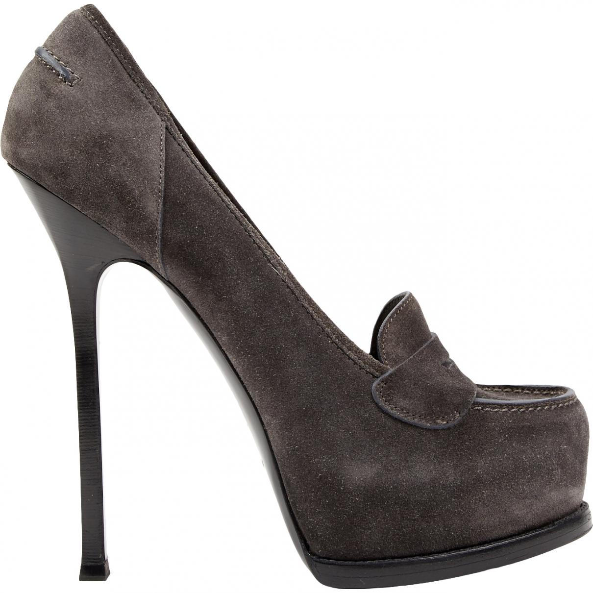 Yves Saint Laurent \N Grey Suede Heels for Women 40 EU