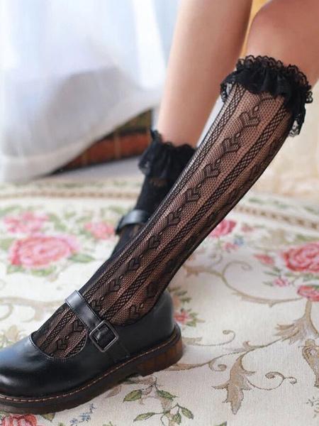Milanoo Sweet Lolita Socks Lace Ruffle White Lolita Stocking
