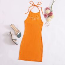 Neon Orange Slogan Graphic Tie Back Bodycon Dress