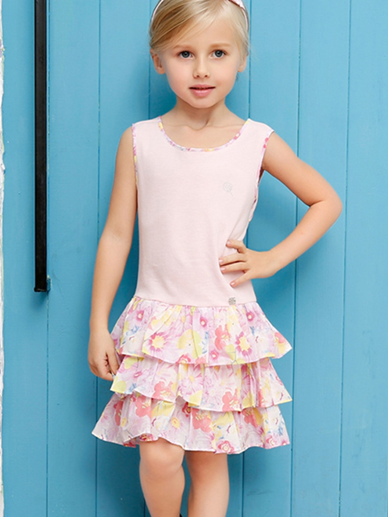 Ericdress Floral Pleated Sleeveless Girls Dress