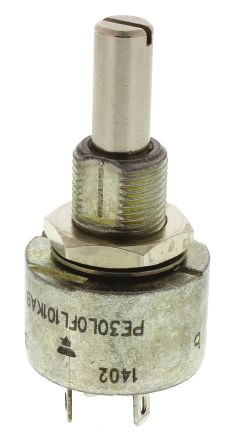 Vishay 1 Gang Rotary Cermet Potentiometer with an 6 mm Dia. Shaft - 22kΩ, ±10%, 3W Power Rating, Linear, Panel Mount
