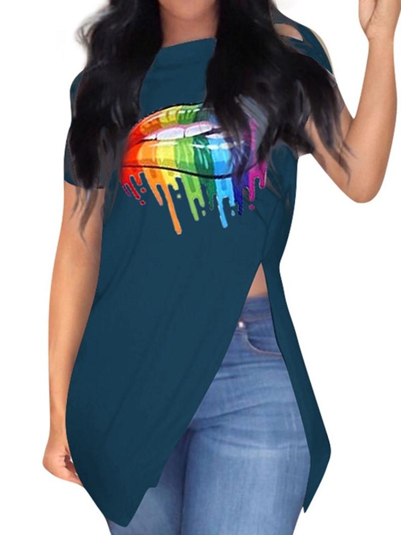Ericdress Short Sleeve Color Block Spilt Casual T-Shirt