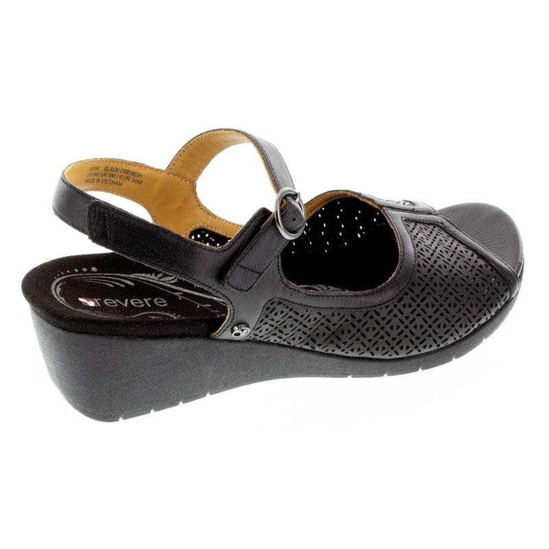 Revere Kaya Black Leather High Heel 7 M