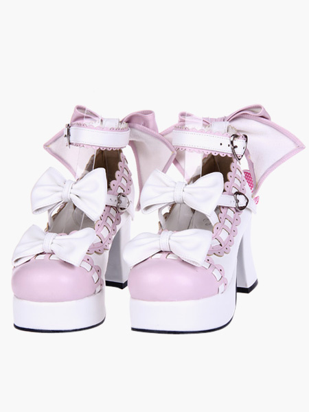 Milanoo Sweet Lolita Chunky Heels Shoes Platform Ankle Strap Bows Decor