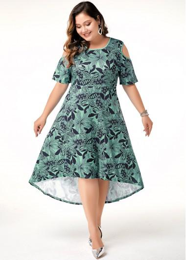 Cold Shoulder Plus Size Printed Dress - 0X