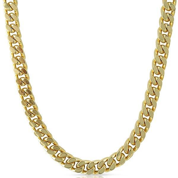 Cuban Box Necklace Gold Plated Chain 10mm 24