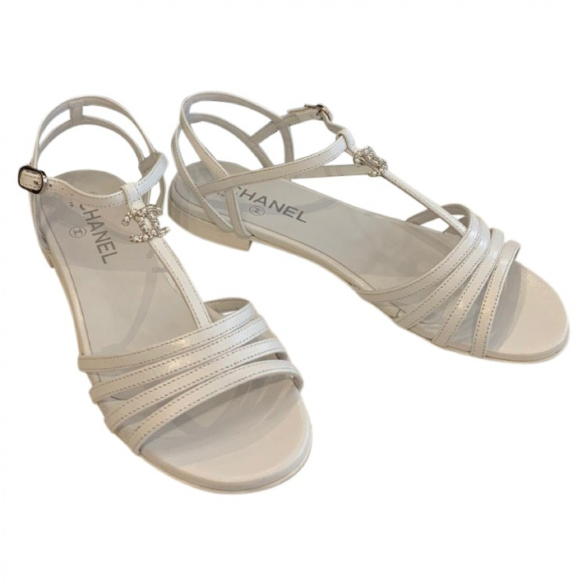 Chanel \N White Leather Sandals for Women 38.5 EU
